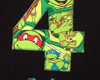 Teenage Mutant Ninja Turtle BIRTHDAY Shirt. Kids Personalized Applique Name T-shirt. TMNT Gift, Theme, Party, Boys