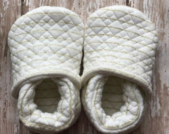 CUSTOM Quilted with Gold Stripes Soft Soled Shoes
