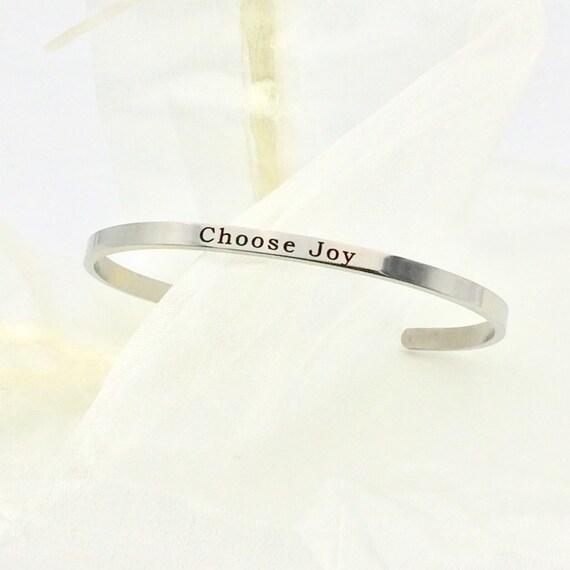 "Stainless Steel ""Choose Joy"" Bangle Bracelet with Blue Monkey Gift Box"