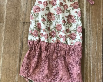 Cute spring/summer romper shorts-little girl romper shorts, with a vintage look-rosewood pink and off white romper shorts-3t; 3 toddler