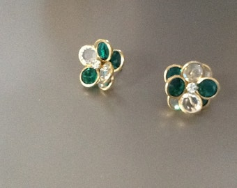 Vintage Swarovski  green crystal gold plated earrings