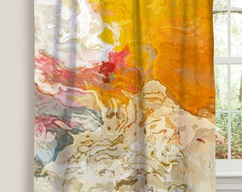 "Abstract art window curtain in yellow, orange and white, 50""x84"" blackout drapery panel, contemporary rod pocket curtain, The Kiss"