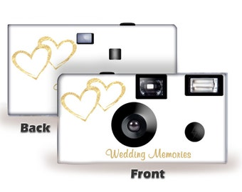 5 Cameras Gold Hearts Wedding Disposable Camera-FUJI color film, w/flash-can be personalized-wedding camera, Anniversary,  (F50349-5PK)