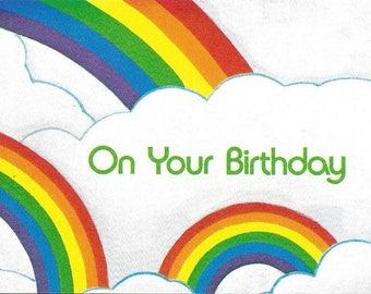 Vintage 1980's Unused Blank Happy Birthday Card - Rainbows