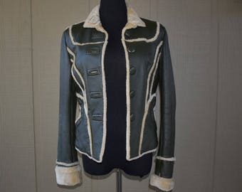 Vintage hunter green leather and faux shearling jacket
