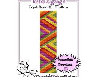 Bead Pattern Peyote(Bracelet Cuff)-Retro Zigzag 2
