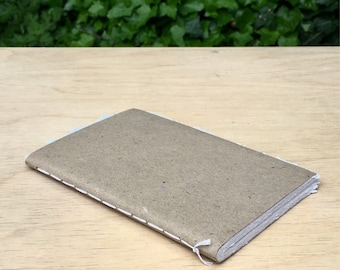 """Recycled Paper Notebook Deckle Edges 4.25"""" x 6.5"""" 50 Blank Pages"""