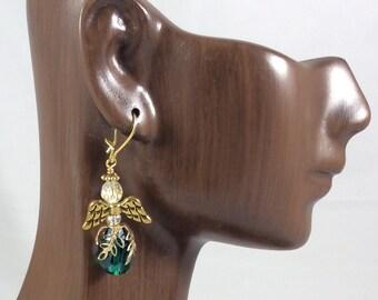 Emerald Green Crystal Angel Earrings, Gold Angel Earrings,  Christian Earrings, Christian Gift, Guardian Angel Earrings, Christian Jewelry
