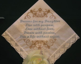 Daughter Handkerchief - Mother to Daughter Handkerchief - Birthday Handkerchief - Graduation Gift Handkerchief - Embroidered Hanky - 161S