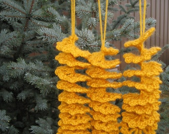 Handcrocheted Gold Spiral Christmas Ornaments