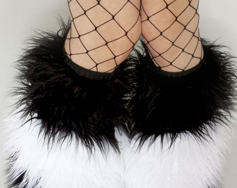 CUSTOM Striped Fluffy Leg Warmers 3 layer you choose your colors rave fluffies furry legwarmers festival fashion leggings