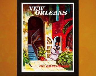 New Orleans Travel Print 1960s - Vintage Travel Poster Art Reproduction Home Decor Vintage New Orleans Poster  t