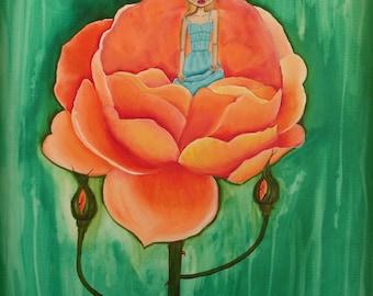 Thumbelina orange rose fairytale art print