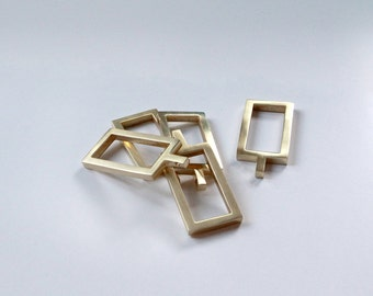 Rectangular Rings for Lucite Curtain Rod  - Brass, Nickel, Satin Brass, Satin Nickel