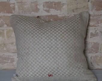 Pillow case made of antique kitchen linen: light diamonds/45 * 40 cm