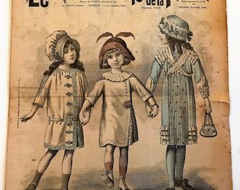 Vintage 1900's French Fashion Magazine Newspaper  Le Petit Echo de la Mode April 20, 1913 Little Girls /  Hats