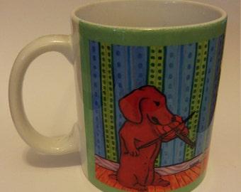 dachshund art - dachshund playing the violin dog art mug cup 11 oz gift - dachshund gifts