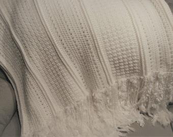 Crochet Soft White Throw Blanket with Fringe, Soft White Crochet Blanket, Handmade Afghan, Wedding Gift OOAK Throw