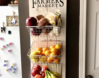 Farmers Market Rustic Produce Wall Hang; Kitchen Fruit and Vegetable Produce Storage; Kitchen storage; Rustic Kitchen Decor, Farmhouse Decor
