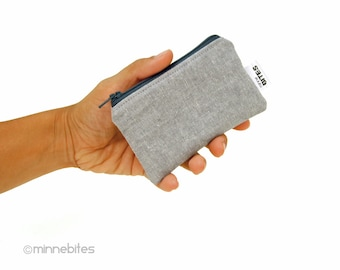 Men's MINI Gray Zip Pouch - Two Tone Grey Small Zip Wallet - Mens Credit Card Holder - Guys Key Case - Unisex Coin Pouch - Ready to Ship