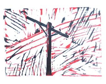 Powerline Linocut Print Hand Pressed Printmaking