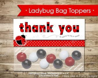 Ladybug Thank You Bag Topper- Instant Download
