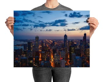 Chicago Illinois Skyline Sears Willis Tower Lake Michigan Navy Pier Hanging Wall Art Poster