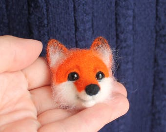 Fox Felt Brooch Needle felted brooch Fox totem Animal brooch jewelry Original gift for woman teen Eco-materials