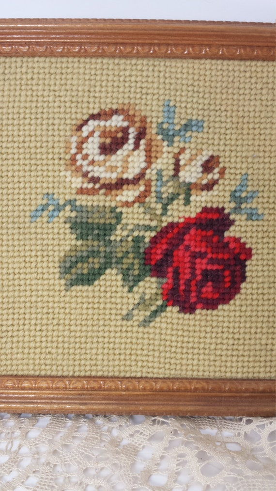 Vintage Set of 2 Needlework Frames with Roses Hand