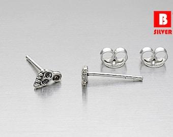 925 Sterling Silver Oxidized Earrings, Foot Earrings, Stud Earrings (Code : K14B)