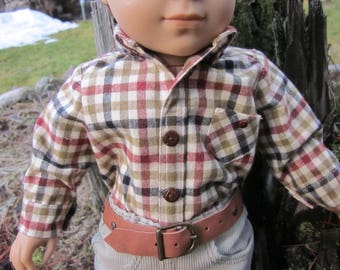 "18"" Boy Doll Long-Sleeved Flannel Plaid Shirt in Cream, Olive, Rust and Black Handmade to Fit American Girl  Logan & Other 18"" Boy Dolls"