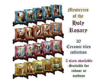 Religious gifts - The Mysteries of the Holy Rosary - 15 or 20 tiles collection, 2 sizes available, virgin mary, catholic rosary, prayer room