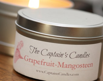 Grapefruit Mangosteen Scented Candle Tin - 100% All Natural Soy Candles - Hand Poured - 8oz Candle Tin - Fruit Candle - Kitchen Candle