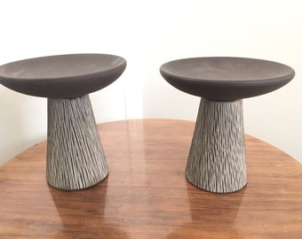 Pair Mid Century Pottery Candle Holders Bases