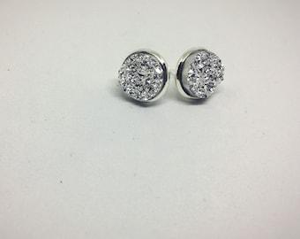 Silver faux druzy earrings on nickel free studs - Nickel Free Earrings - Silver druzy - Elegant earrings - Silver Glitter - Sparkle Earrings