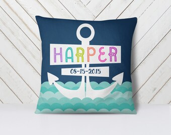 Personalized Pillow, Kids Decor, Kids Pillow, Nursery Decor, Nursery Pillow, Nautical Pillow, Adventure, Waves, Anchor Two