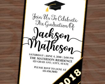 Graduation Party Invitation - Graduation Announcement - Class Of - Black Gold - Grad Invite - Printable or Printed - SHIPPING INCLUDED - 4x6