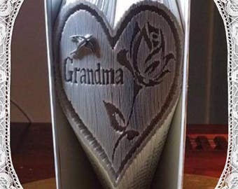 Grandma Heart with Rose detail book folding art pattern Unusual unique family gift