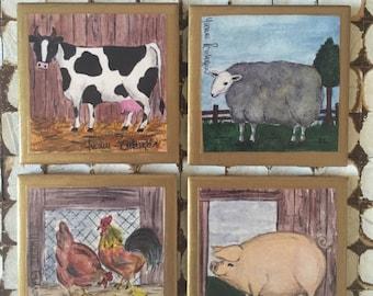 COASTERS!! Farm animal coasters! Adorable Set of Farm Animal Coasters with Gold Trim