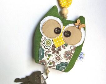 Fabric Keychain Cover Owl charm