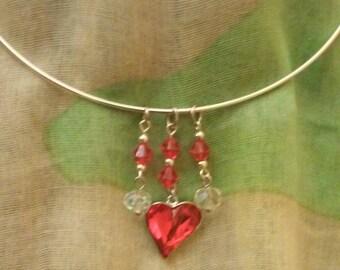 Terrific Swarovski Ruby Heart Pendant on Silver Tone Necklace