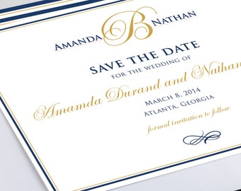 Monogram Save the Date - Wedding Save the Date - Navy and Gold - Custom Colors - Modern, Elegant Save the Date - Card and Matching Envelope