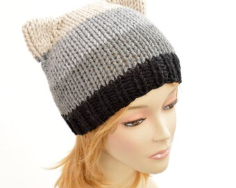 Cat Hat Knitting Pattern // Strip Hat Womens Knit Hat Pattern PDF Cat Hat Pattern, Cat Ear Beanie, Cat Ears Ear Hat, Cat Beanie Bonnet Femme