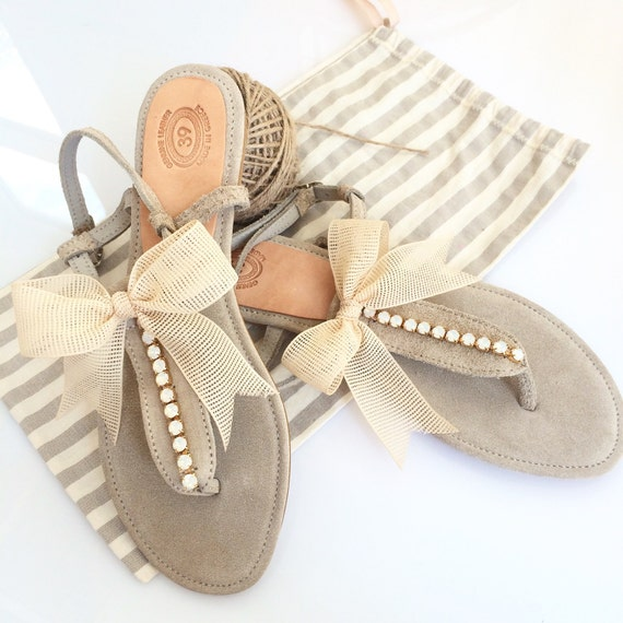 Flat wedding sandals leather sandals wedding sandals like this item junglespirit Image collections