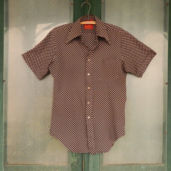 Vintage Short-Sleeve Mens Shirt -M- Brown with White Dots Japan