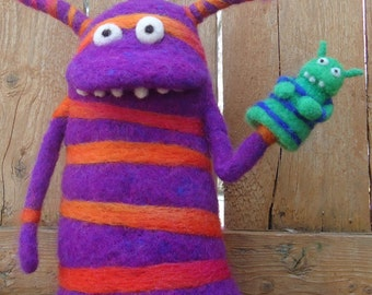 Needle Felted Monsters, Monster Puppet with Puppet, Made to Order