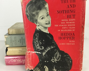 Vintage 60s Hedda Hopper, The Whole Truth and Nothing But, Hollywood Memoir, Hardcover Book, B&W Photographs, Old Hollywood Gift