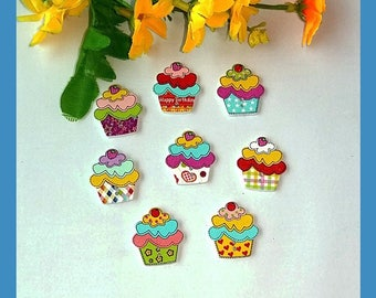 Buttons 10 wood cakes (Cup Cake)