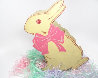 1940's Bunny Rabbit and Chicken for Easter, Antique Cardboard Candy Container