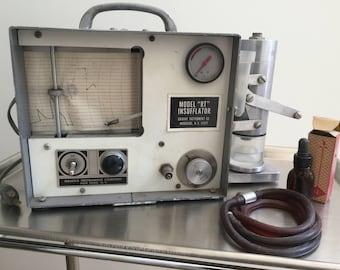 "Vintage 1950s Tubal Insufflator Fertility Test Gynecology Model ""RT"" Grafax NY COMPLETE Instructions Kyrograph Mad Lab Frankenstein"